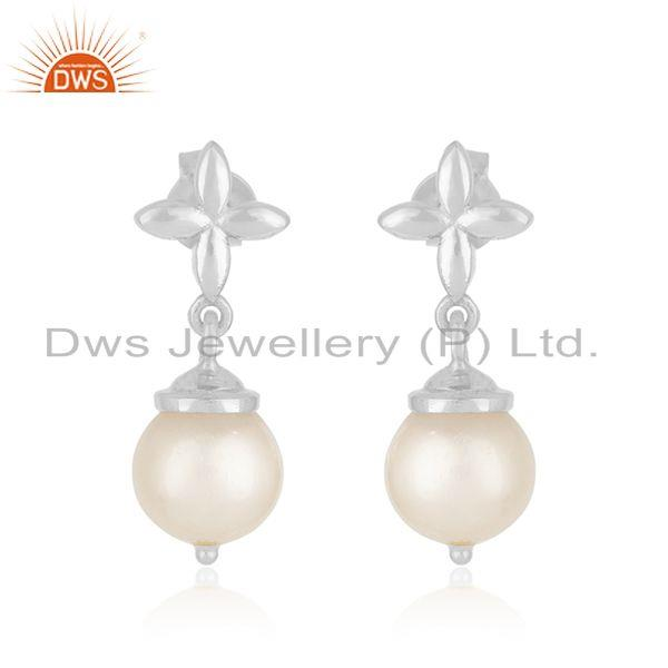 Natural South Sea Pearl Gemstone Fine 925 Sterling Silver Earrings