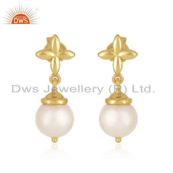 Natural South Sea Pearl Gemstone Gold Plated Sterling Silver Earrings