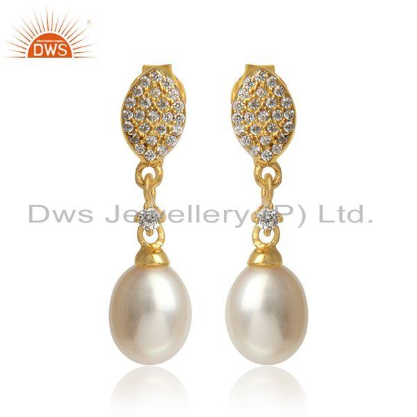 Designer Pave Cz Yellow Gold on Silver 925 Dangle with Pearl
