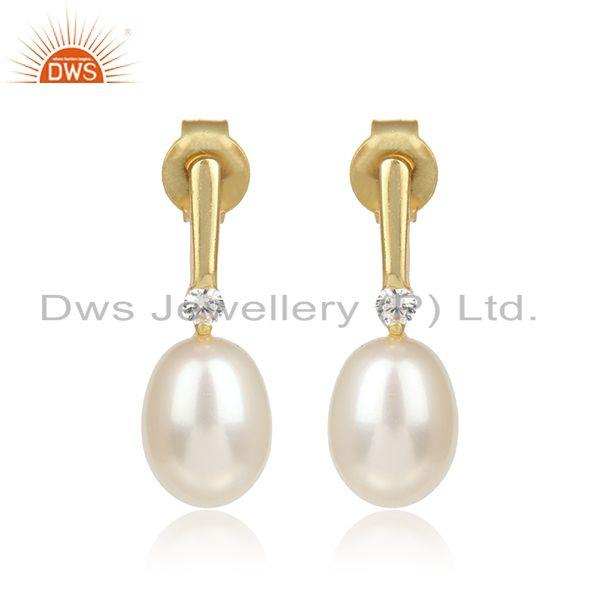 Handmade Elegant Yellow Gold on Silver 925 Dangle with Pearl and Cz