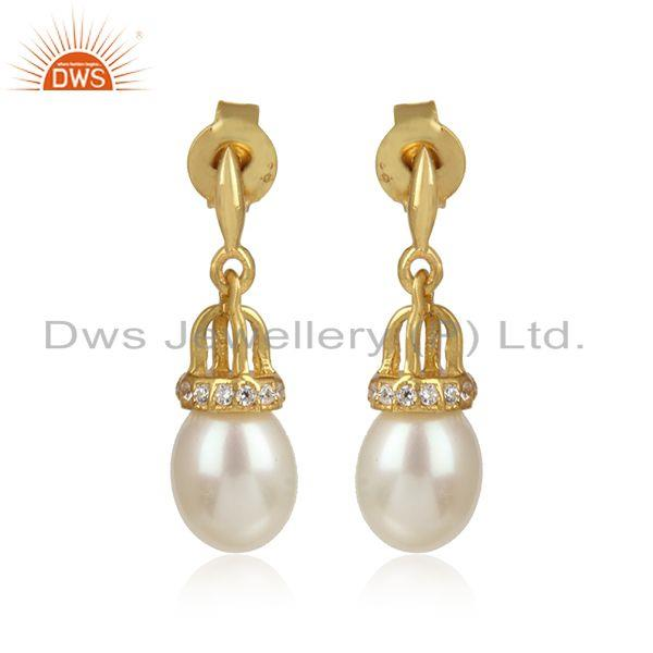Traditional Design Gold on Silver 925 Earring With Pearl and Cz