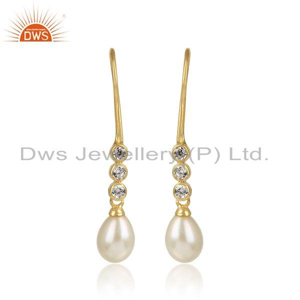 Handcrafted Dainty Pearl Earring in Yellow Gold on Silver and Cz
