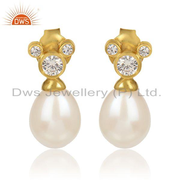 CZ Natural Pearl Gemstone Gold Plated Designer Silver Earrings