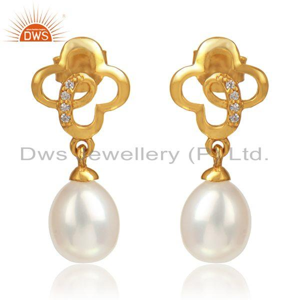 Flower Design Gold Plated 925 Silver CZ Pearl Gemstone Earrings