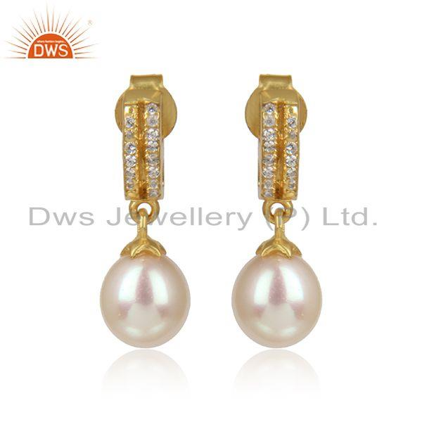Trendy Design Yellow Gold on Silver Dangle Pearl Earring with Cz