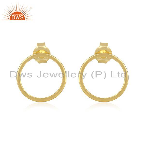 Handmade 18k Gold Plated Sterling Silver Round Stud Earrings Supplier