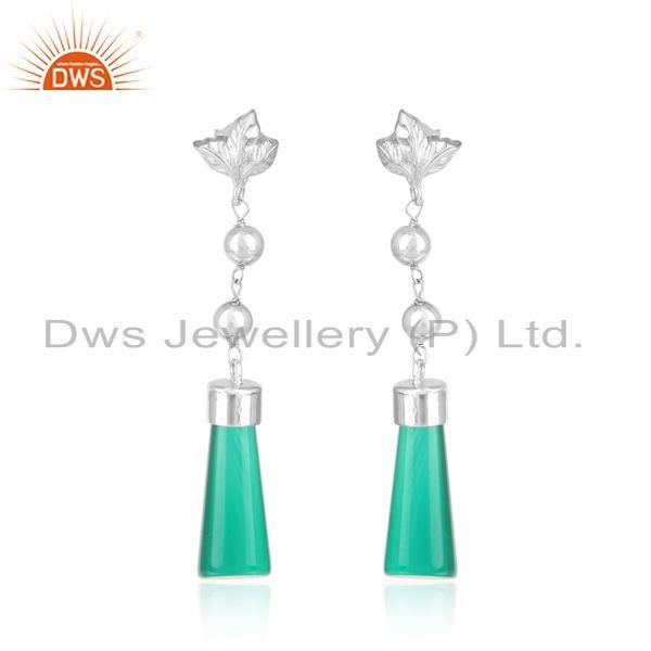 Designer Long Dangle in Rhodium on Silver and Fancy Green Onyx