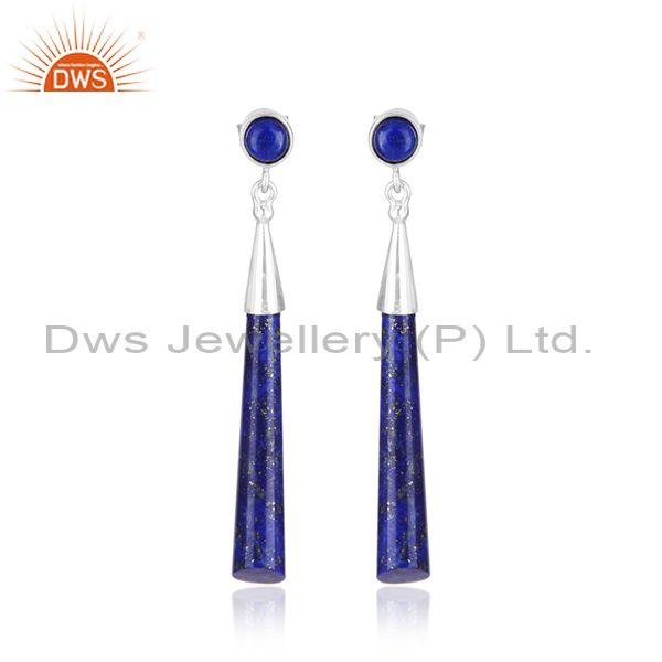 Lapis Lazuli Gemstone Designer Fine Sterling Silver Earrings Wholesale