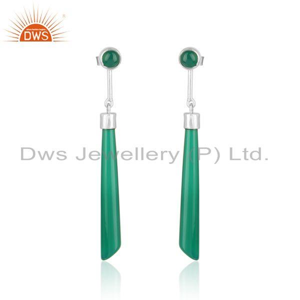 Designer long earring in rhodium on silver 925 and green onyx