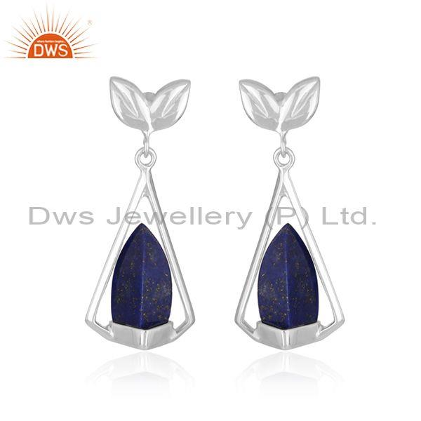Dolphin Tale Shape Fine Silver Lapis Lazuli Natural Gemstone Earrings