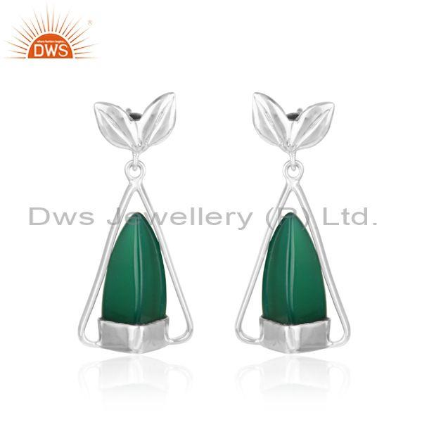 Leaf Design Dangle in Rhodium on Silver and Fancy Green Onyx
