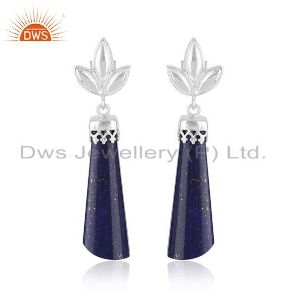 Natural Lapis Lazuli Gemstone Crown Design Fine 925 Silver Earrings