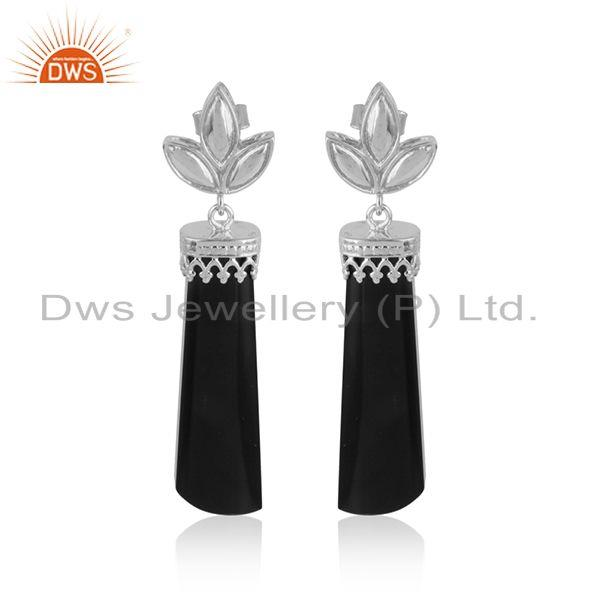 White rhodium plated crown design black onyx gemstone earrings
