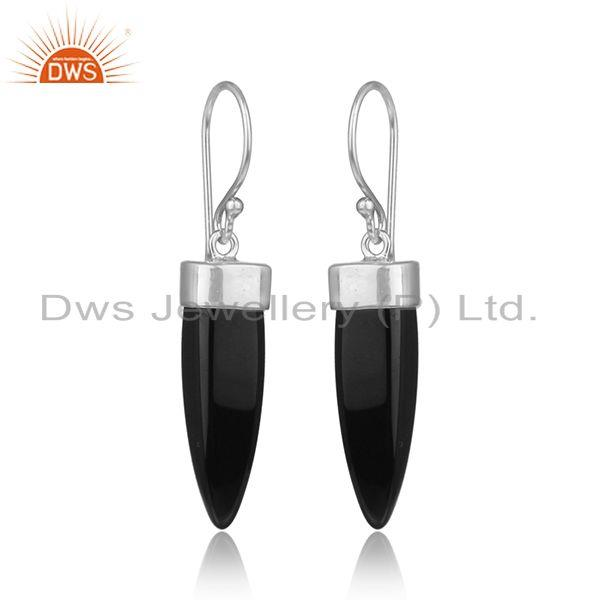 Dangle silver 925 earring with black onyx horn and white rhodium