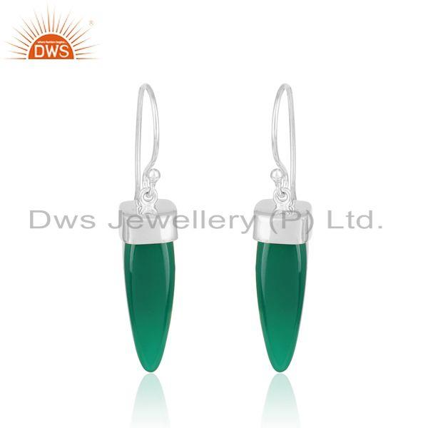 Designer green onyx spike dangle in rhodium on silver 925