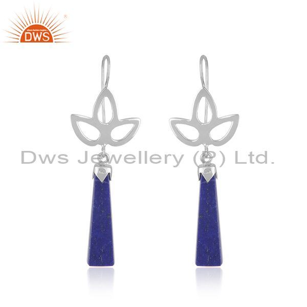 Designer Fine Sterling Silver Lapis Lazuli Gemstone Party Wear Earring