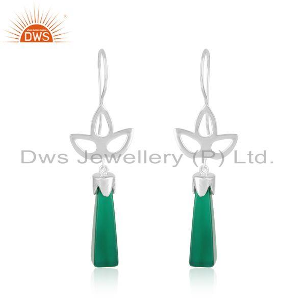 Designer Leaf Dangle in Rhodium on Silver and Long Green Onyx