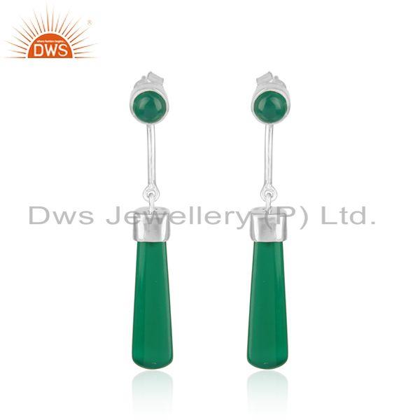 Longing green onyx dangle earring in rhodium on silver 925