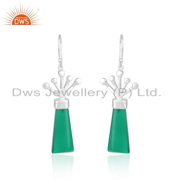 Designer long green onyx dangle earring in rhodium on silver 925