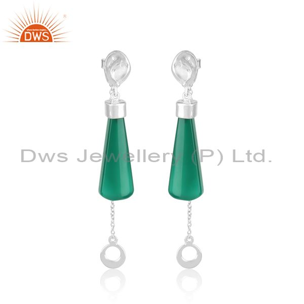 Long fancy green onyx designer dangle in rhodium on silver 925