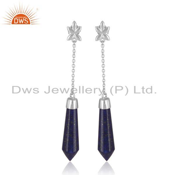 Genuine Lapis Lazuli Gemstone Handmade Fine Sterling Silver Earrings