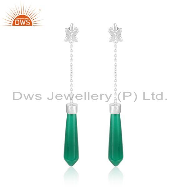 Designer Star Dangle in Rhodium on Silver with Fancy Green Onyx