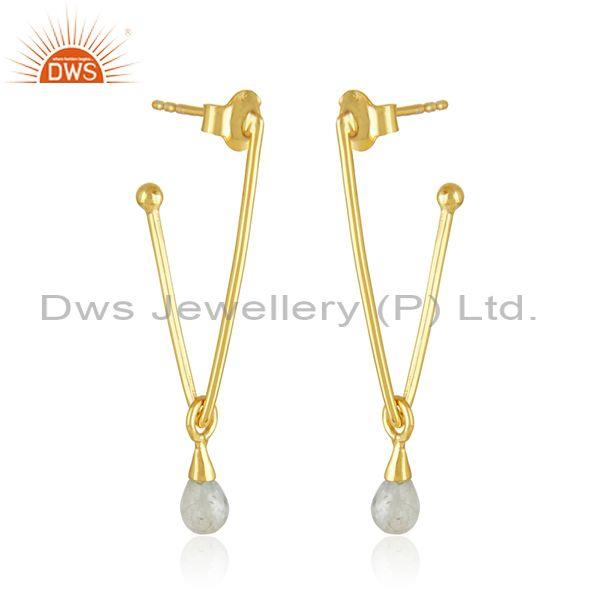 Aquamarine Gemstone Gold Plated 925 Silver Earrings Manufacturer