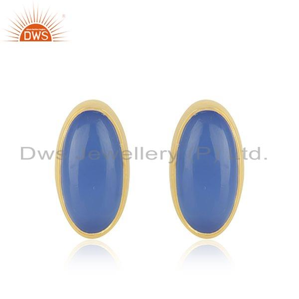 Blue Chalcedony Gemstone Gold Plated Silver Oval Shape Stud Earrings