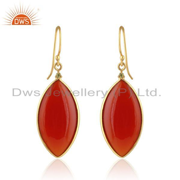 Marquoise Shape Red Onyx Gemstone Gold Plated Silver Earrings