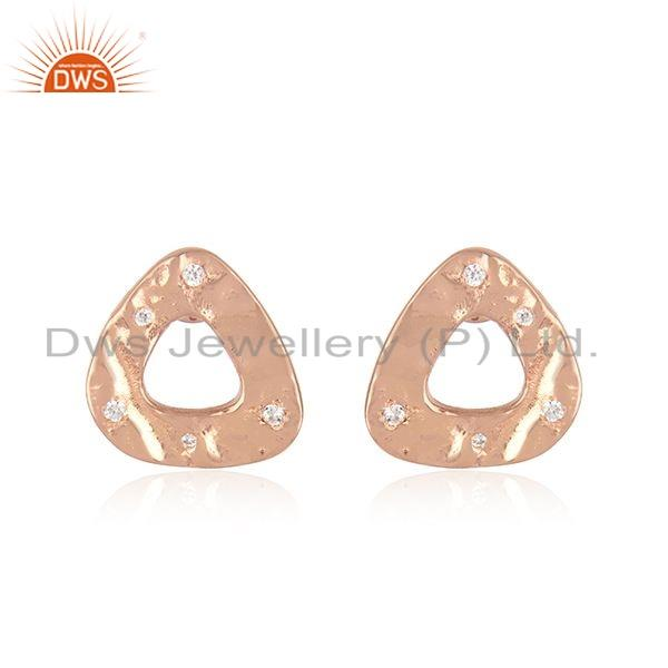New Look Rose Gold Plated Silver CZ Gemstone Stud Earrings Jewelry