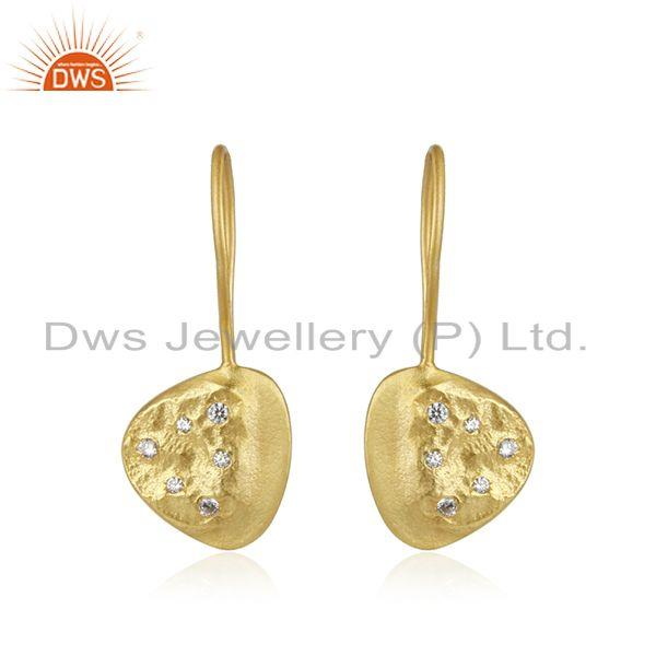 White Zircon Handmade Yellow Gold Plated 925 Sterling Silver Earrings