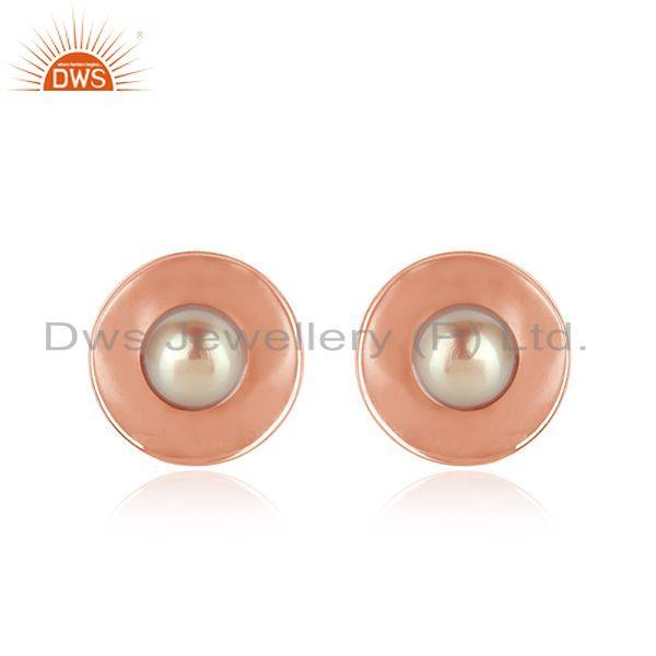 Round Shape Rose Gold Plated Gray Pearl Gemstone Stud Earrings Jewelry