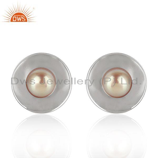 White Rhodium Plated 925 Silver Gray Pearl Gemstone Stud Earrings