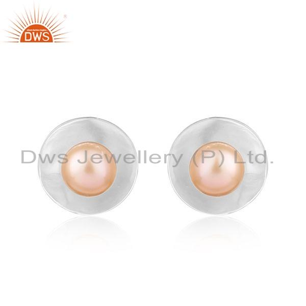 White Rhodium Plated Silver Pink Pearl Gemstone Stud Earrings Jewelry