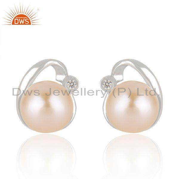Pink Pearl Gemstone Beautiful 925 Fine Silver Cute Stud Earrings