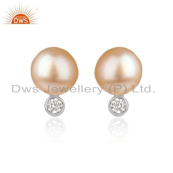 Cz pink pearl gemstone white rhodium plated silver girls earrings