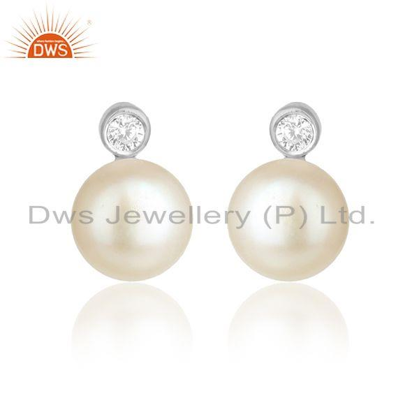 Cz natural pearl white rhodium plated silver designer earring