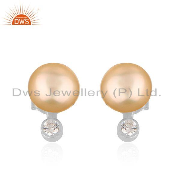 Natural CZ Pink Pearl Gemstone White Rhodium Plated Silver Earrings
