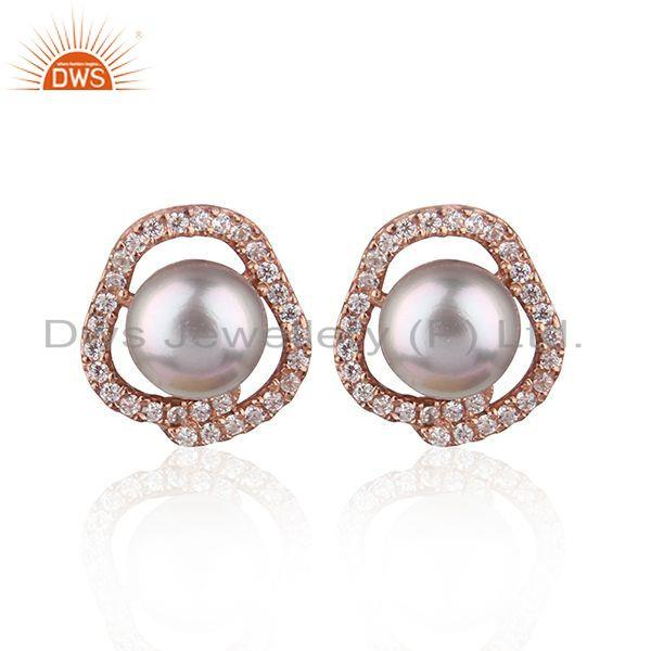 Designer Rose Gold Plated Silver CZ Gray Pearl Gemstone Stud Earrings