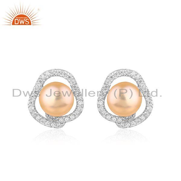 White Rhodium Plated Silver Natural Pink Pearl Stud Earrings Jewelry