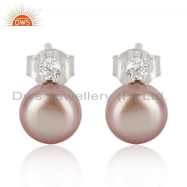 Trendy 925 Sterling Fine Silver Gray Pearl Gemstone Cute Stud Earrings