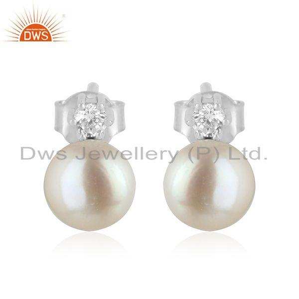 CZ Natural Pearl 925 Silver White Rhodium Plated Silver Stud Earrings