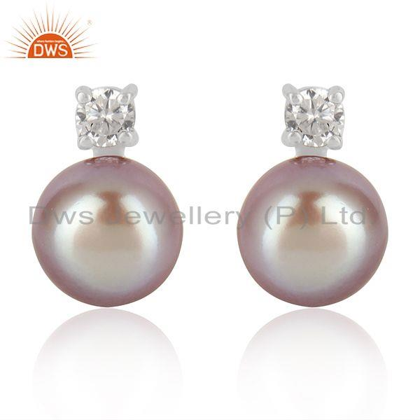 Trendy 925 Fine Silver Gray Pearl Gemstone Cute Zircon Stud Earrings
