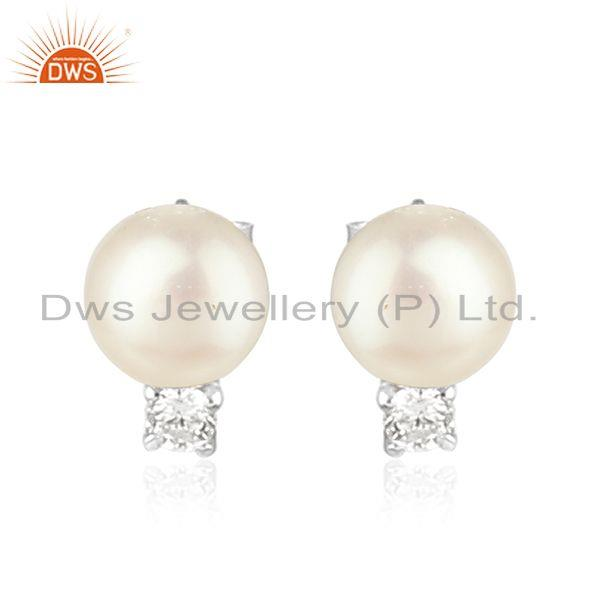 Natural Pearl CZ White Rhodium Plated 925 Silver Designer Stud Earring