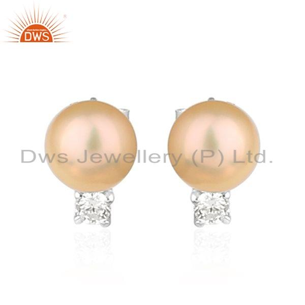 Pink Pearl Gemstone White Rhodium Plated Silver Earrings Jewelry