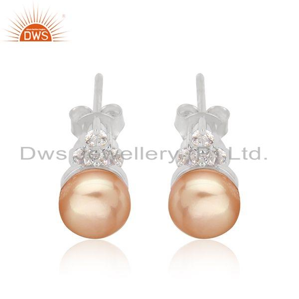Natural Pearl Gemstone Sterling Silver White Rhodium Plated Earrings