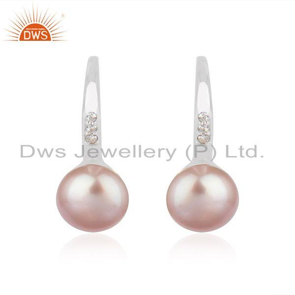 Natural Gray Pearl Gemstone White Rhodium Plated Silver Hook Earrings