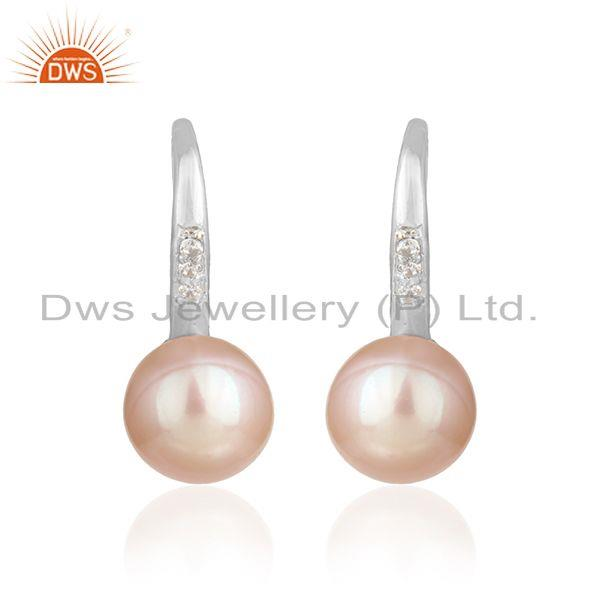 White Rhodium Plated Silver Zircon Pink Pearl Gemstone Earrings
