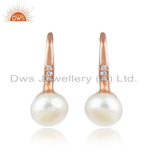 New Rose Gold Plated Silver CZ Pink Pearl Gemstone Earrings Jewelry