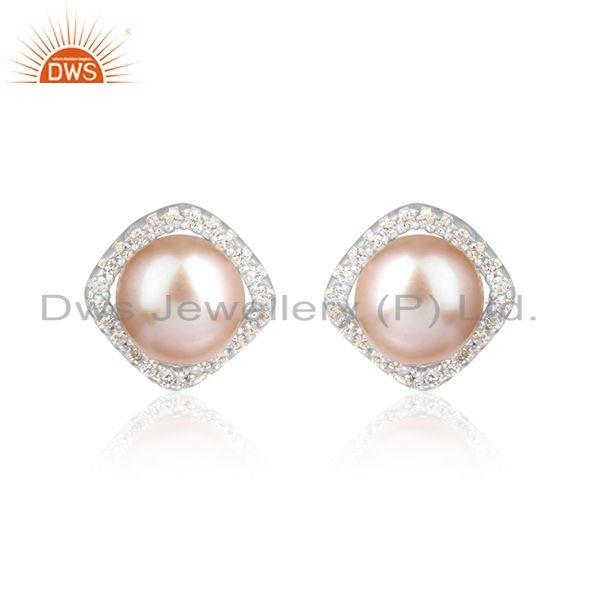 Cz pink pearl gemstone white rhodium plated womens silver earring